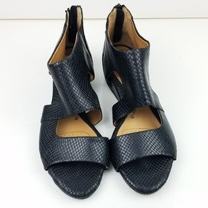 Sofft Black Snake Embossed Comfort Sandals Sz 10